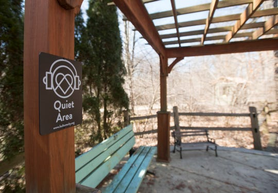 A quiet area set up for those with sensory needs at the far southern end of Potter Park Zoo away from the train tracks.
