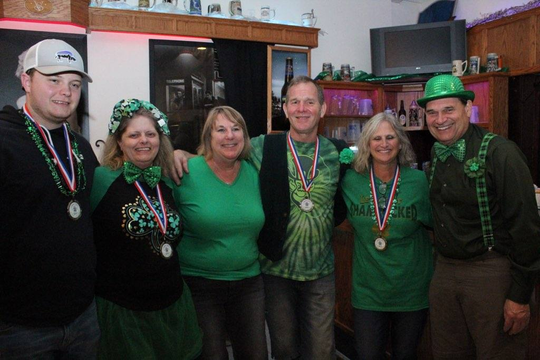 Shamrocks for Shelter benefiting The Haven men's homeless shelter was March 16 at Knox's Silver Valley. Pictured are first-place winners in the bean bag tournament and co-chairmen of the event, from left:Joe Mrotek, Trish Mrotek, Cindy Nitsch,Jerry Knox, Debbie Knox and Dick Nitsch.