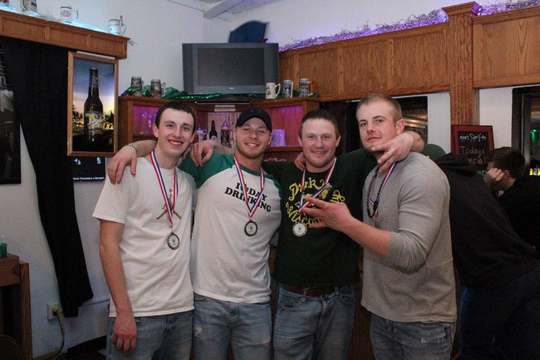 Shamrocks for Shelter benefiting The Haven men's homeless shelter was March 16 at Knox's Silver Valley. Pictured are third-place bean bag winners Team Cornstars, from left:Alex Selueier, Eli Nelson, Jake Rathsackand Jared Patek.