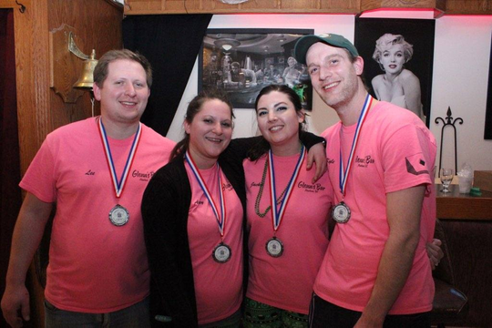 Shamrocks for Shelter benefiting The Haven men's homeless shelter was March 16 at Knox's Silver Valley. Pictured from left are second-place winners in the bean bag tournment, Bobby's Baggers (Glen's Bar), from left: Kyle Rathgaber, JackieSonnentag, Ashley Skarvanand Lee Messman.