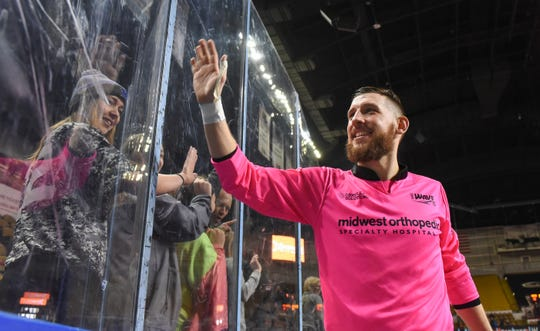 Milwaukee Wave goalkeeper Josh Lemos greets fans after a victory last month.