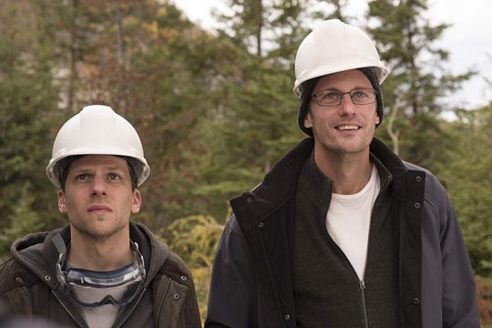 "Jesse Eisenberg (left) and Alexander Skarsgard play a pair of entrepreneurial cousins with a dream in The ""Hummingbird Project."""