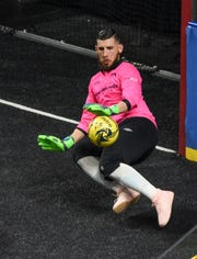 Wave goalkeeper Josh Lemos blocks an Orlando SeaWolves shot March 31. Lemos has an MASL-leading 3.42 goals-against average and a save percentage of .733, his best in three seasons in the league.