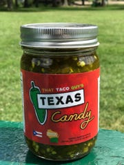 Texas Candy, a sweet and spicy relish made with candied jalapeños, is sold by the jar.