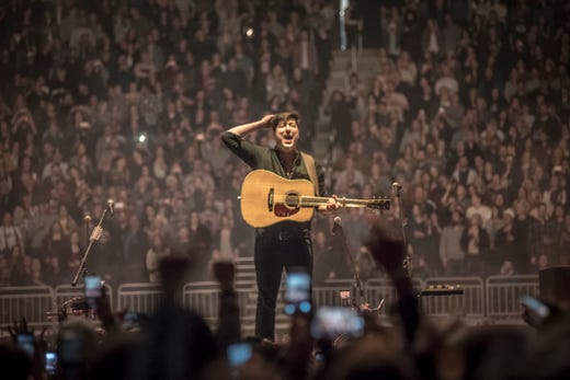 Mumford & Sons cover AC/DC with fan at 'Delta' tour finale
