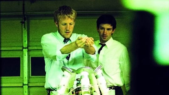"David Sullivan (left) and Shane Carruth explore time travel in ""Primer."""
