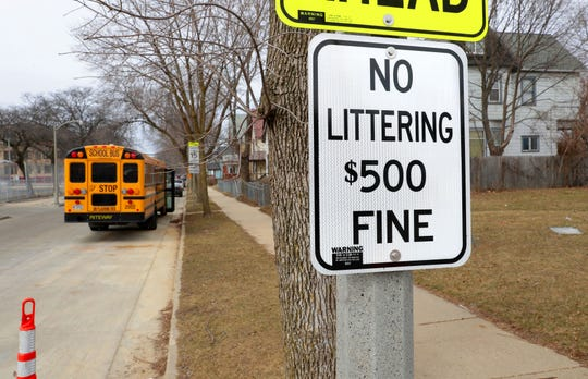 A newly posted no littering sign is seen just north of West North Avenue on North 9th Street in Milwaukee on Monday. As of Monday, anyone caughtlittering in the city will now face a $500 fine. The measure to increase littering fines was approved by the Common Council in February. Littering fines previously started at $25 for the first offense and $50 for subsequent offenses.