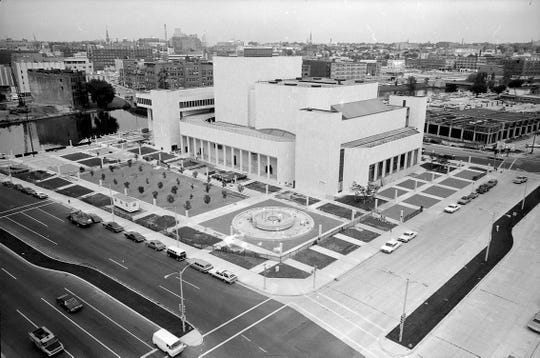 The new Marcus Center for the Performing Art in 1969 shows the newly planted Chestnut tree grove.