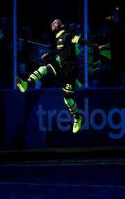 Milwaukee Wave forward Ian Bennett celebrates a goal in a match earlier this season.