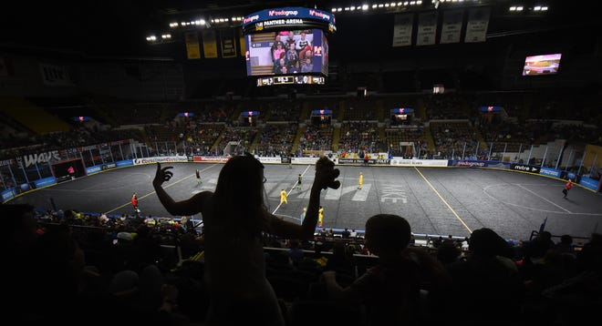 A young fan cheers the start of the second half of the Milwaukee Wave-Orlando SeaWolves MASL soccer match Sunday, March 31, 2019, at the UW-Milwaukee Panther Arena. The Wave won, 12-2.