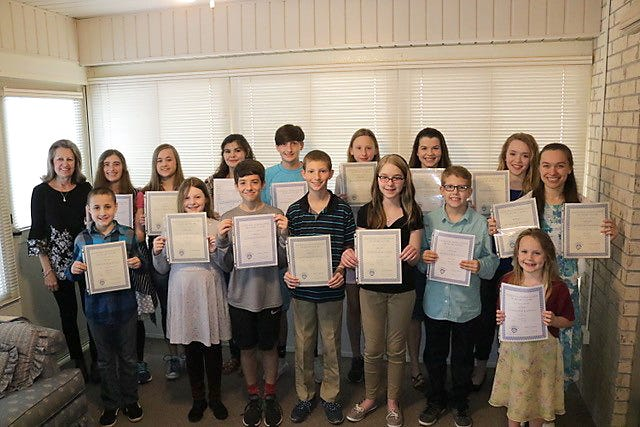 All of Mrs. Caryl Reddick's studentswho participated in the JuniorFestival held in March 23 in Springfield, Mo., received superior ratings for memorized piano solo performances. Pictured are: (first row, from left)Colton Means, McKinley Jackson, Aidan Sanders, Titus Bennett, Joanna Oliger, Abe Bennett, Krueger., (second row)Mrs. Caryl Reddick, Trevi Sheaner, Jessalin Means, Tessa Jansen, Jack Sheaner, Deanna Human, Hailey Woods, Lauren Oligerand Heather Grace Spencer.