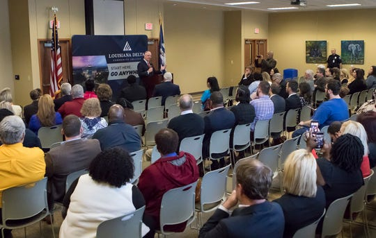 Louisiana State Governor John Bel Edwards speaks at Louisiana Delta Community College in Monroe, La. on April 1 to introduce a pilot program to offer job skills to training to Medicad recipients in Northeast Louisiana in partnership with the community college.