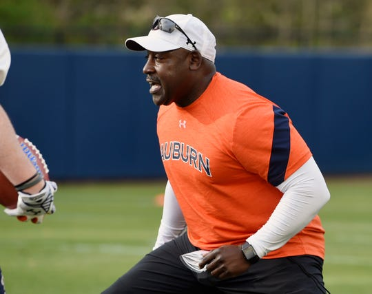 Auburn defensive backs coach Wesley McGriff during spring practice on Monday, March 18, 2019 in Auburn, Ala.