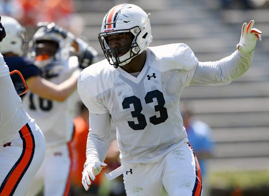 K.J. Britt in practice on Saturday, March 30, 2019 in Auburn, Ala.