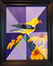 "The painting ""Gold Finch"" by Yvonne Wise will be on display during April 2019 at Vera Mae's Bistro."