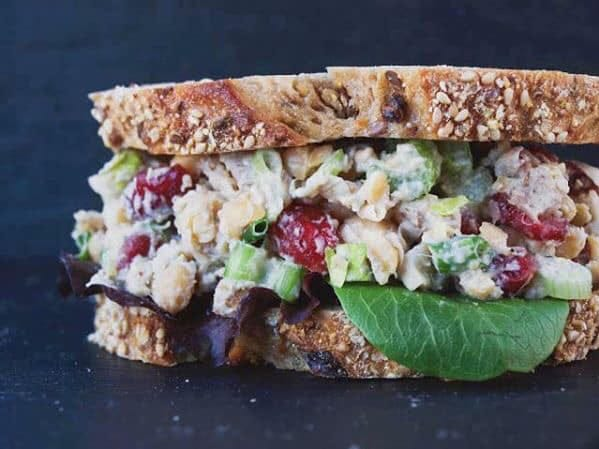 Cranberry Chik'n Salad Sandwich from Juicy's Wellness Cafe uses chickpeas instead of meat.