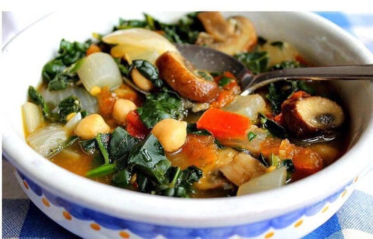 All soups at Juicy's Wellness Cafe are vegan and feature a variety of root vegetables as well as greens and beans.