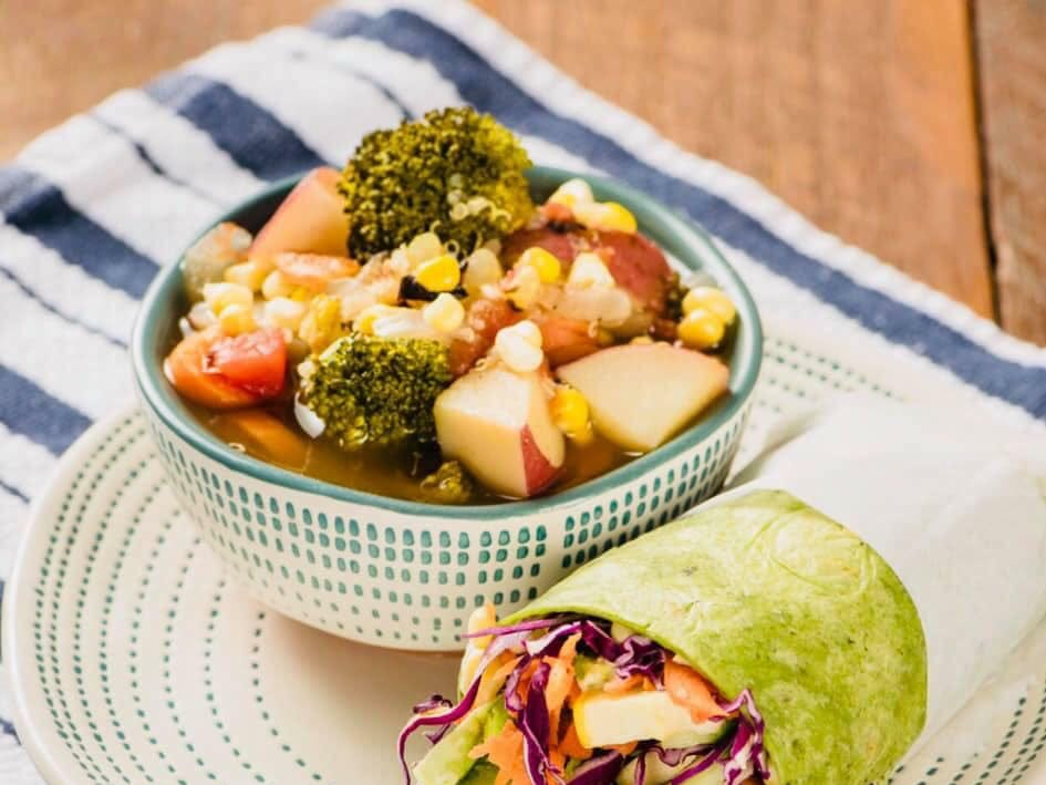Get a combo of soup and wrap for around $8.50 at Juicy's Wellness Cafe.