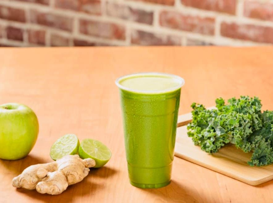 The Green Goddess at Juicy's Wellness Cafe has ginger root, green apple, lime and kale.
