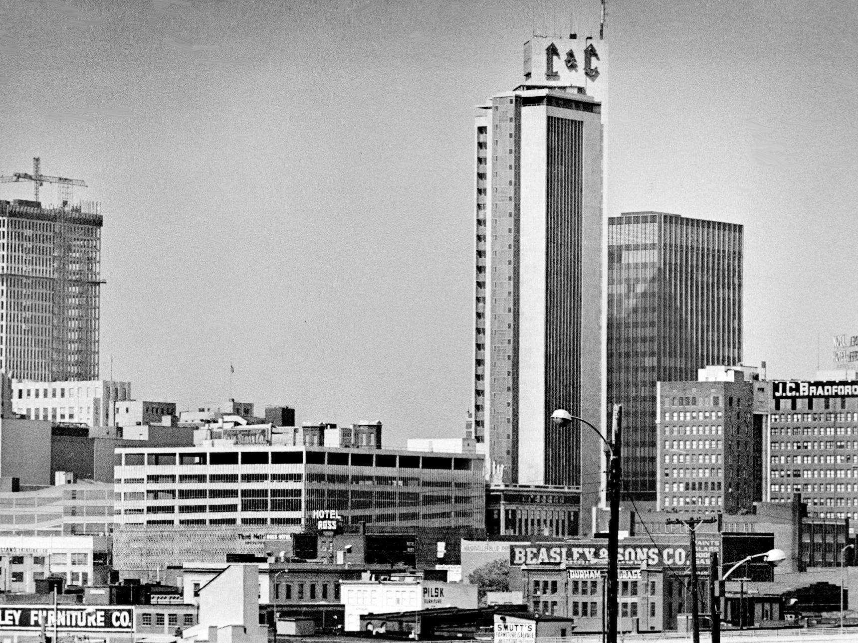 Nashville skyline has the Life and Casualty Tower, left, and the J.C. Bradford building towering over the city Sept. 14, 1968. The Bradford building was Nashville first skyscraper when it was the First National Bank.