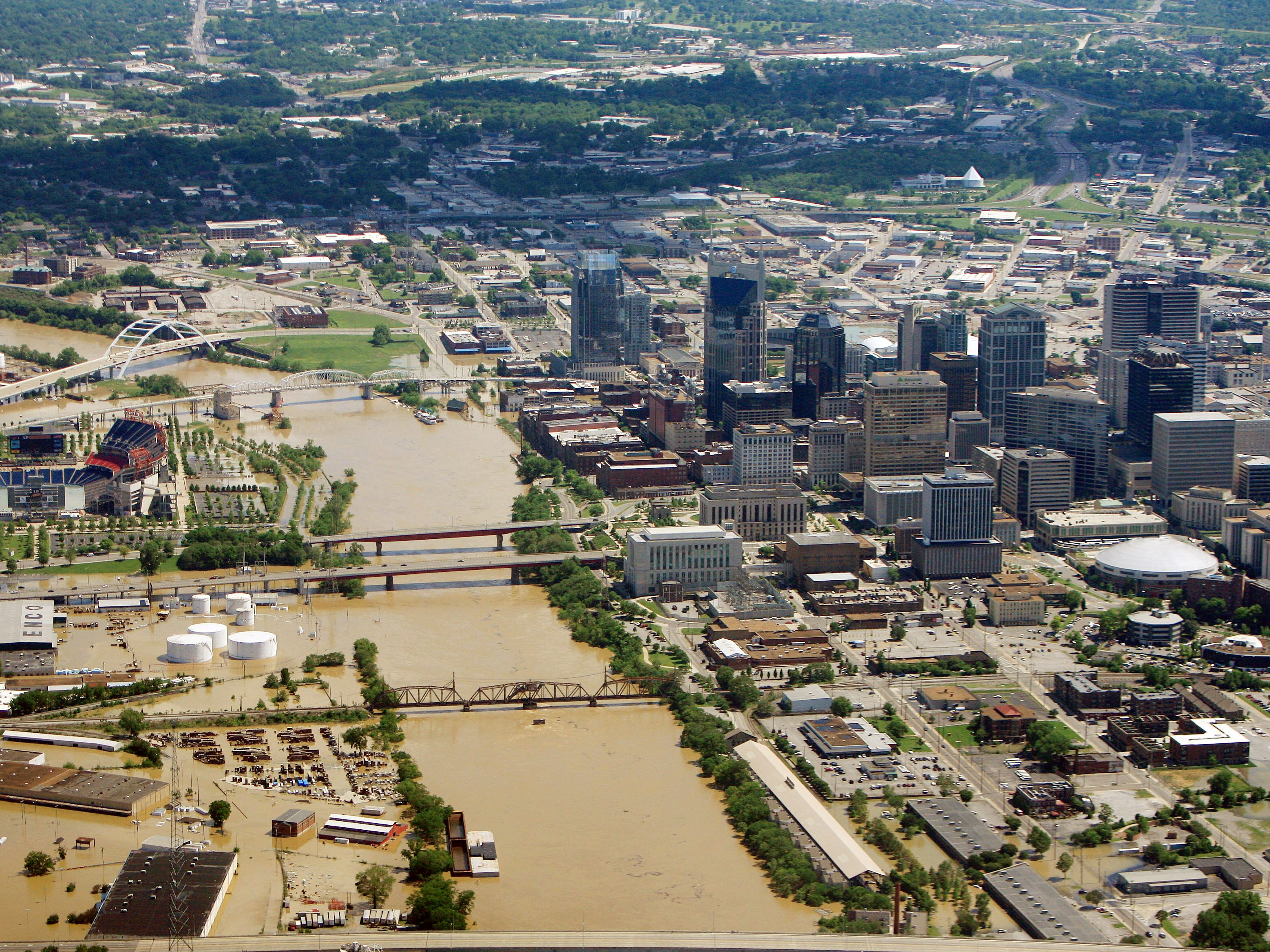 An aerial view of Nashville skyline on May 3, 2010 as flood water is still rising.