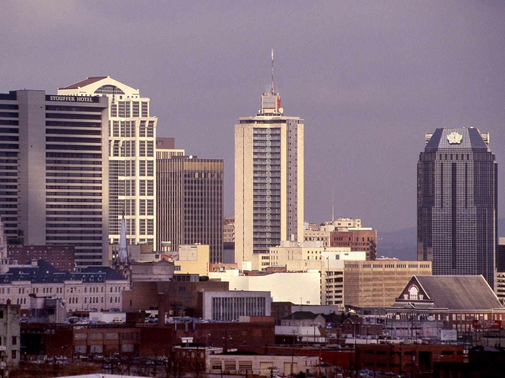 A view of downtown Nashville skyline on a mild day of 51 degrees on Jan. 3, 1989.