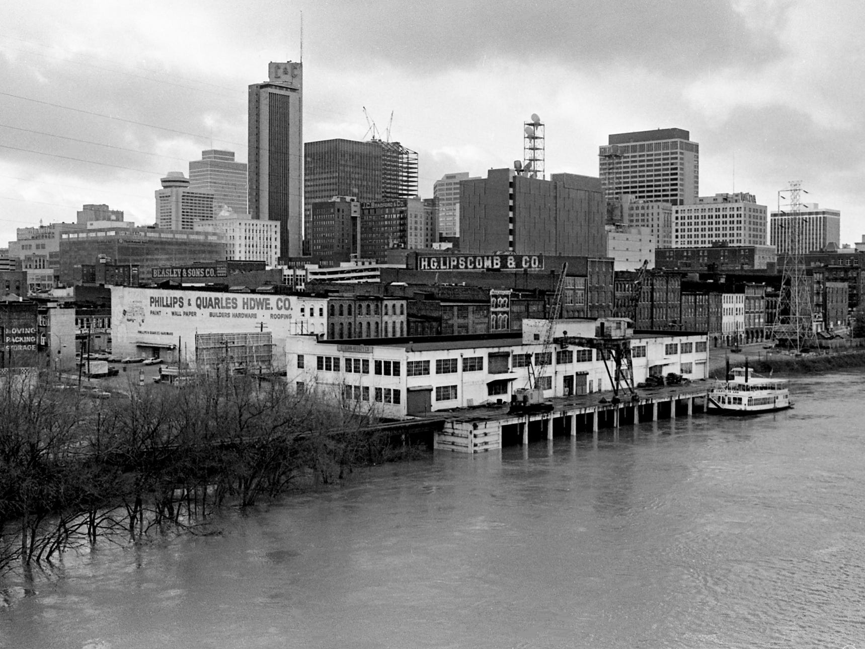 The floodwater-swollen Cumberland River, here Dec. 9, 1978, begins to recede long before it reaches a height that would threaten downtown Nashville and East Nashville near the river. A total of 4 inches of rain fell in a day and half, bring the total for the month to 10 inches.