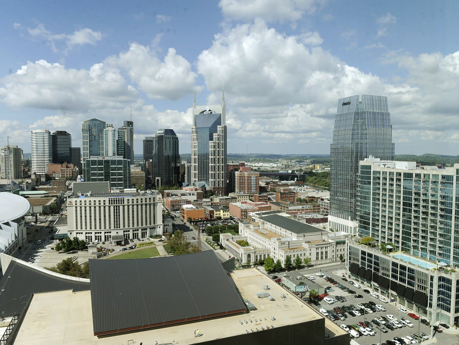 A view of the Nashville skyline on Sept. 25, 2013 from one of the presidential suites in the Omni Hotel, which is set to open on Sept. 30.