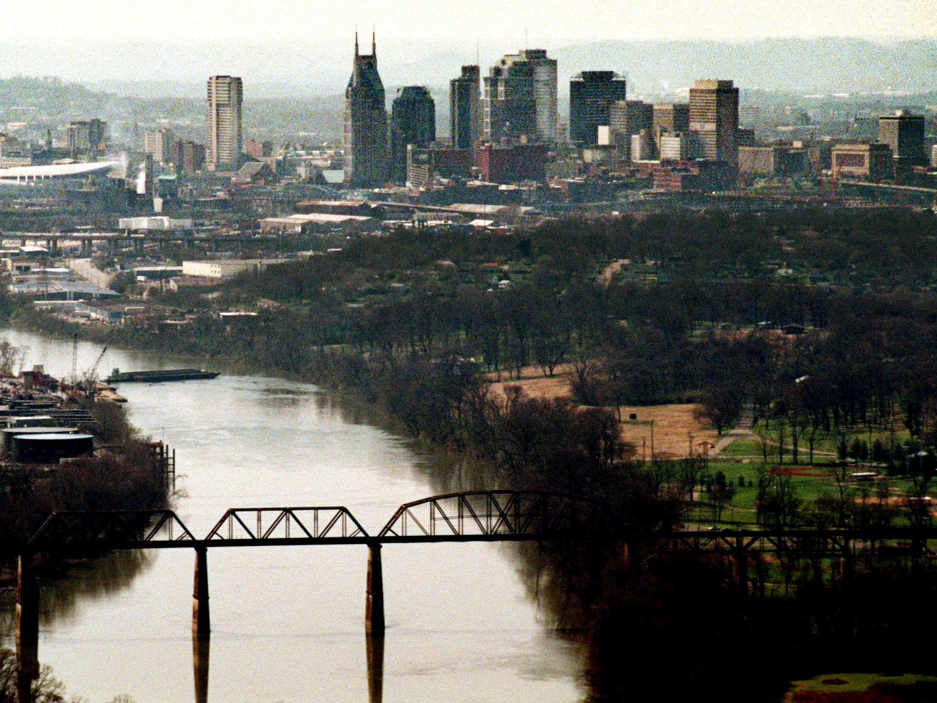 An aerial view to the Nashville skyline looking West up the Cumberland River on March 24, 1998.