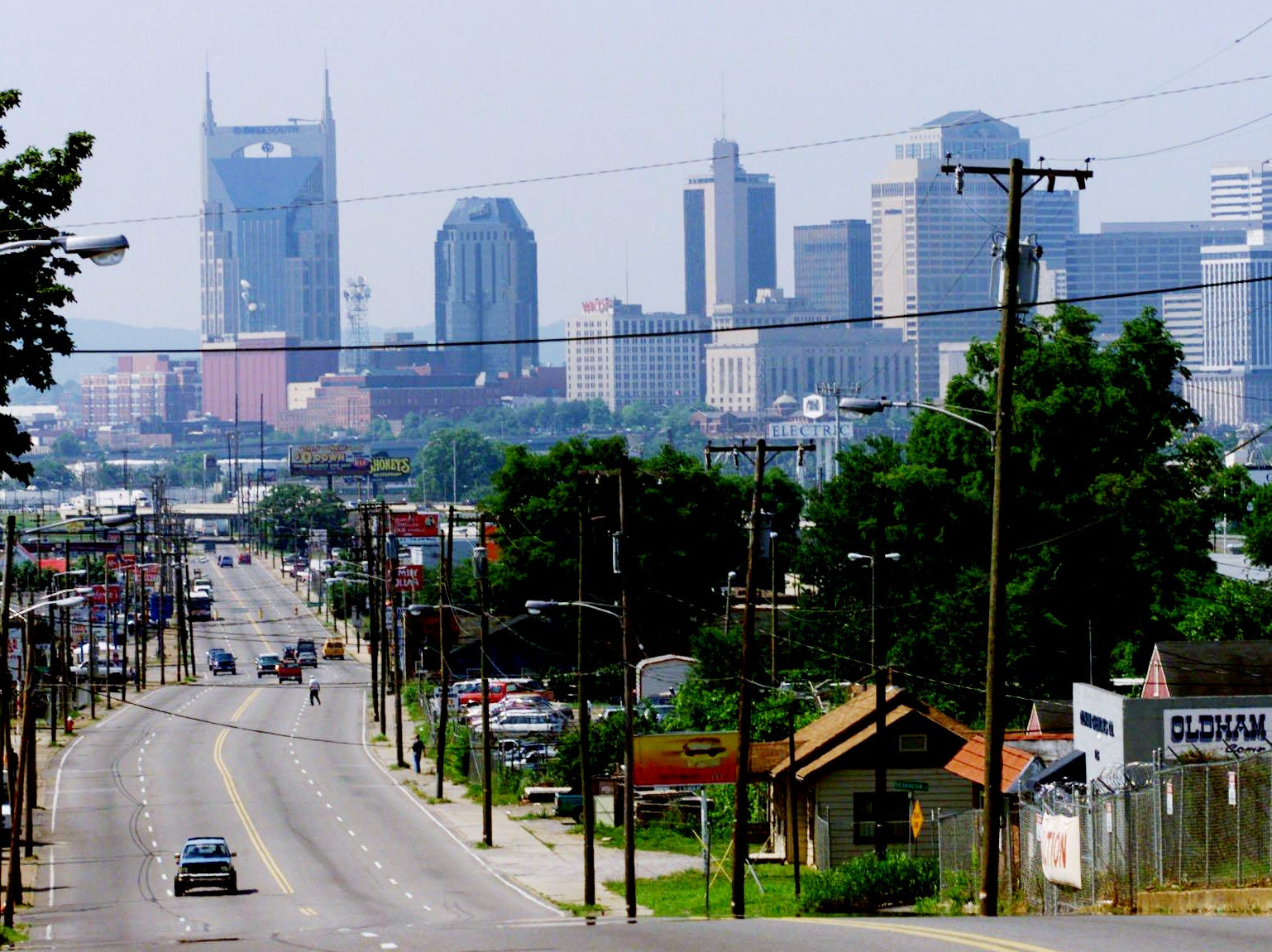 Nashville skyline is visible from most of Dickerson Road, as seen here on June 1, 2000.