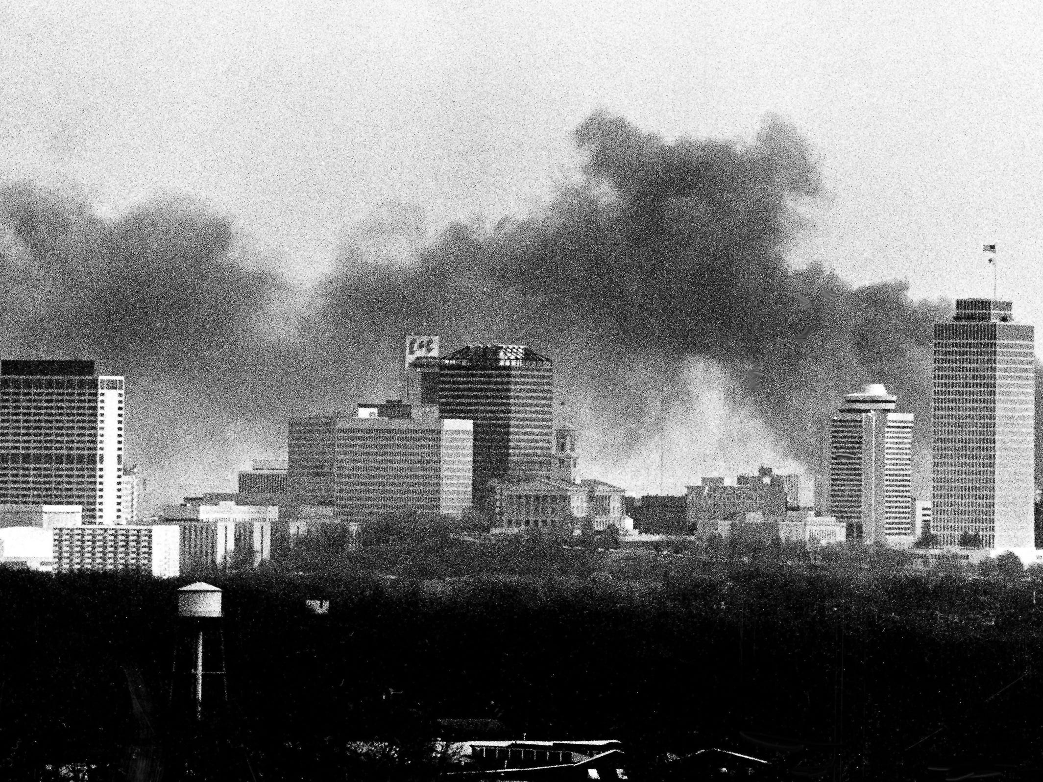 Clouds of thick black smoke darken the Nashville skyline March 30, 1982 as a fire at Southern Oil Services consumes thousands of gallons of oil and oil products stored at the Hart Street terminal in South Nashville.