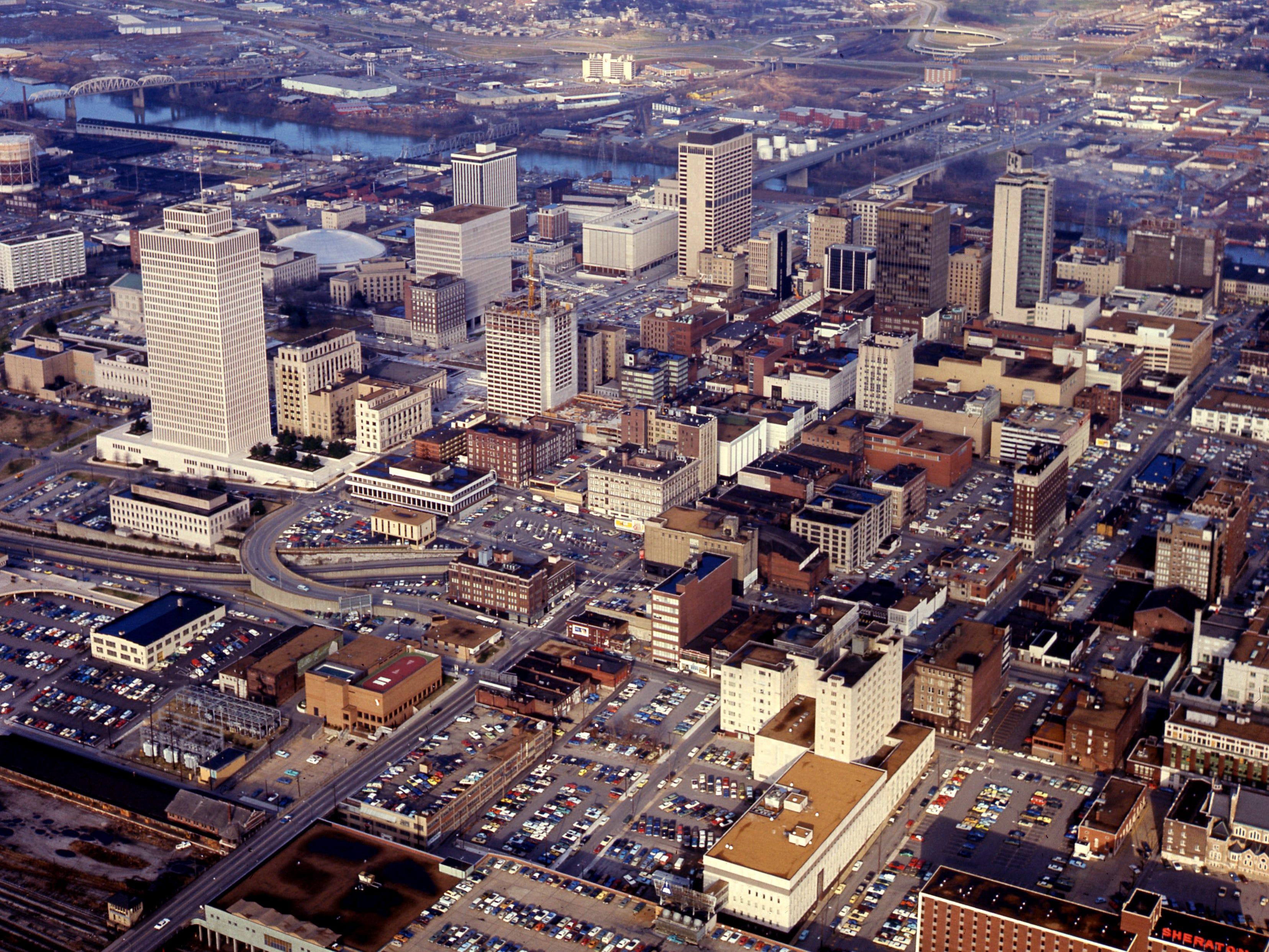 An aerial view of the downtown shows Nashville on a cold sunny day Jan. 9 1975.
