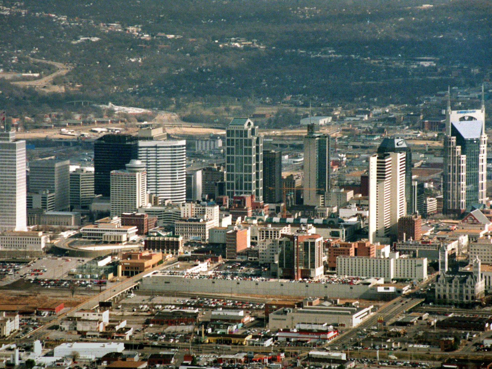 An aerial view of the Nashville skyline on May 23, 1997.