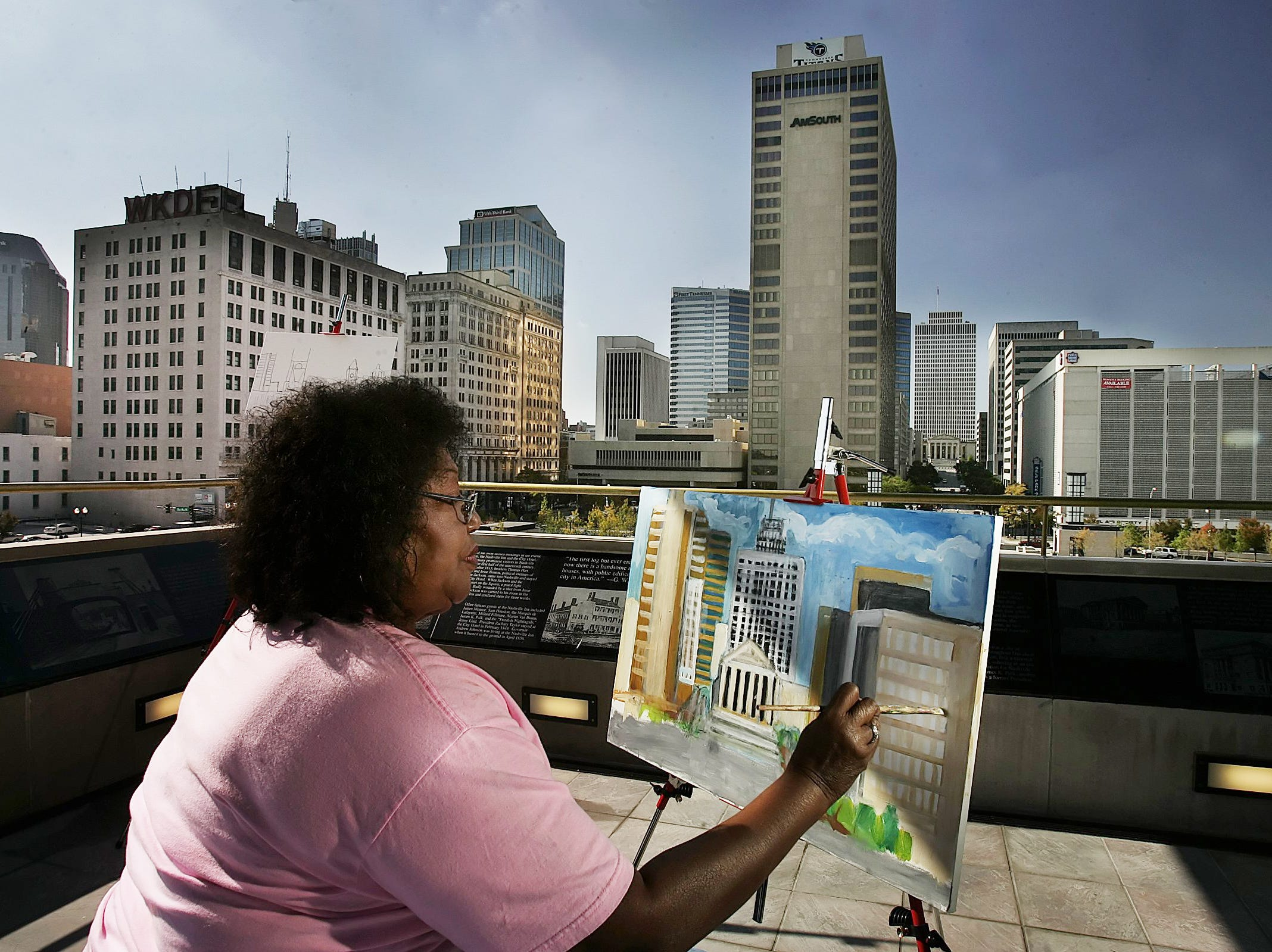 Teresa Scott is one of several art students painting their views of the Nashville skyline from the observation deck at the new Public Square Park at  the Metro Courthouse on Oct. 18, 2006. The observation deck is open seven days a week from 7:30 a.m. to 8 p.m.