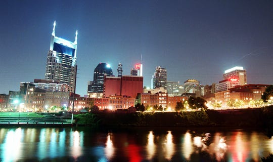 A view of the Cumberland River and skyline of downtown Nashville at night on Nov. 15, 2001.