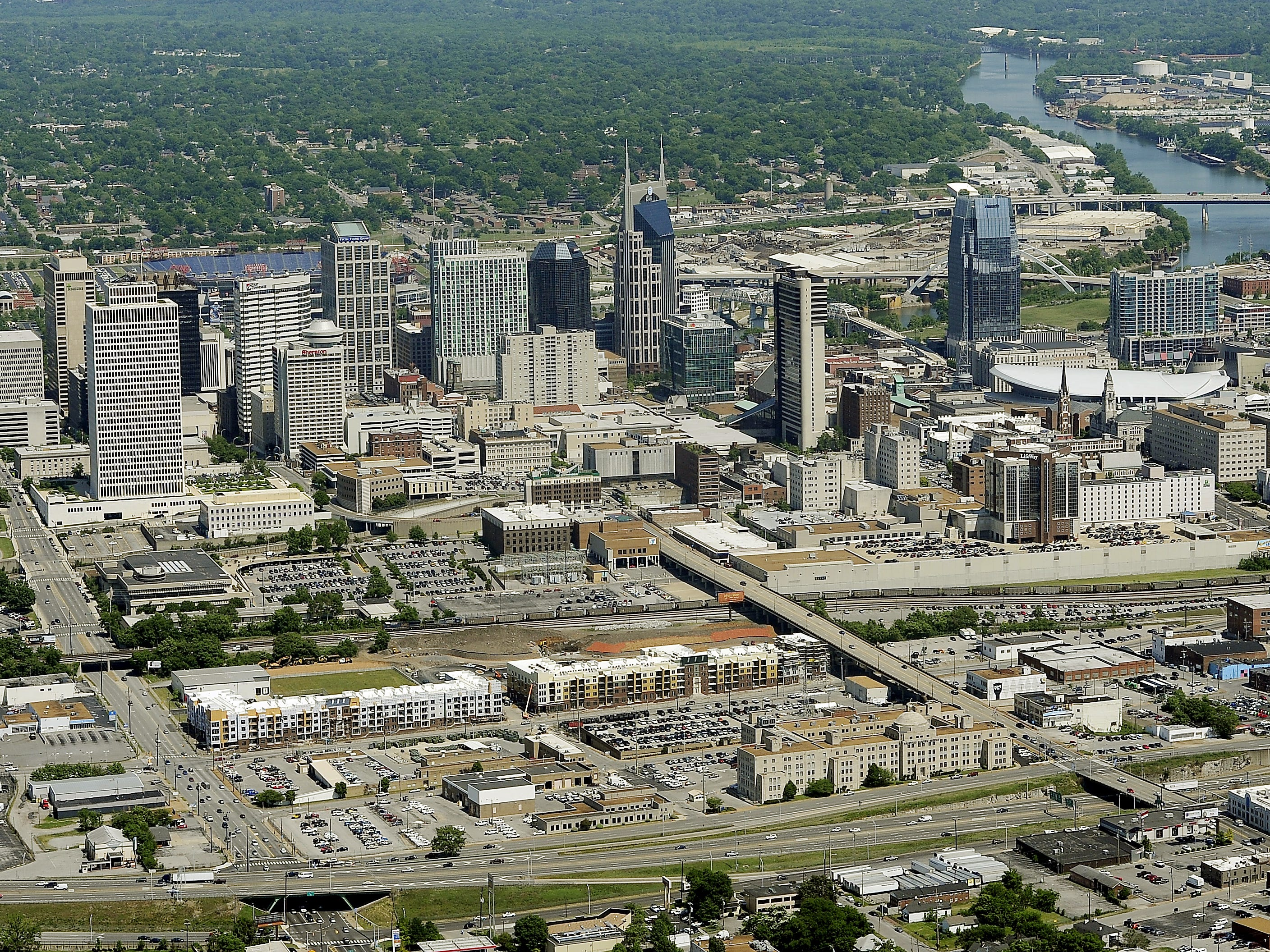 An aerial view of downtown Nashville and its skyline on April 19, 2012.