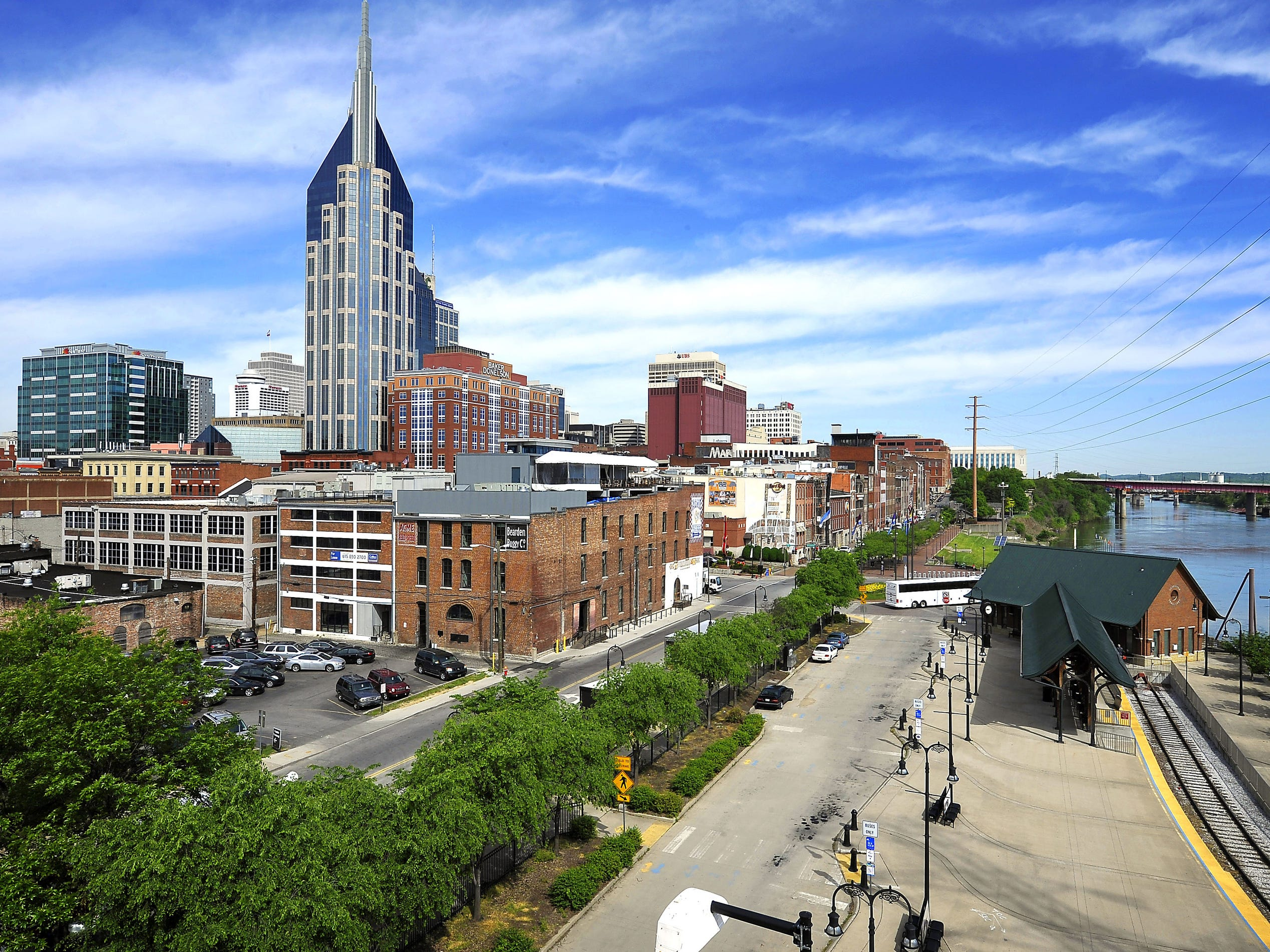 A view of the downtown Nashville on April 28, 2015 close to the Cumberland River five years after the flood in 2015.