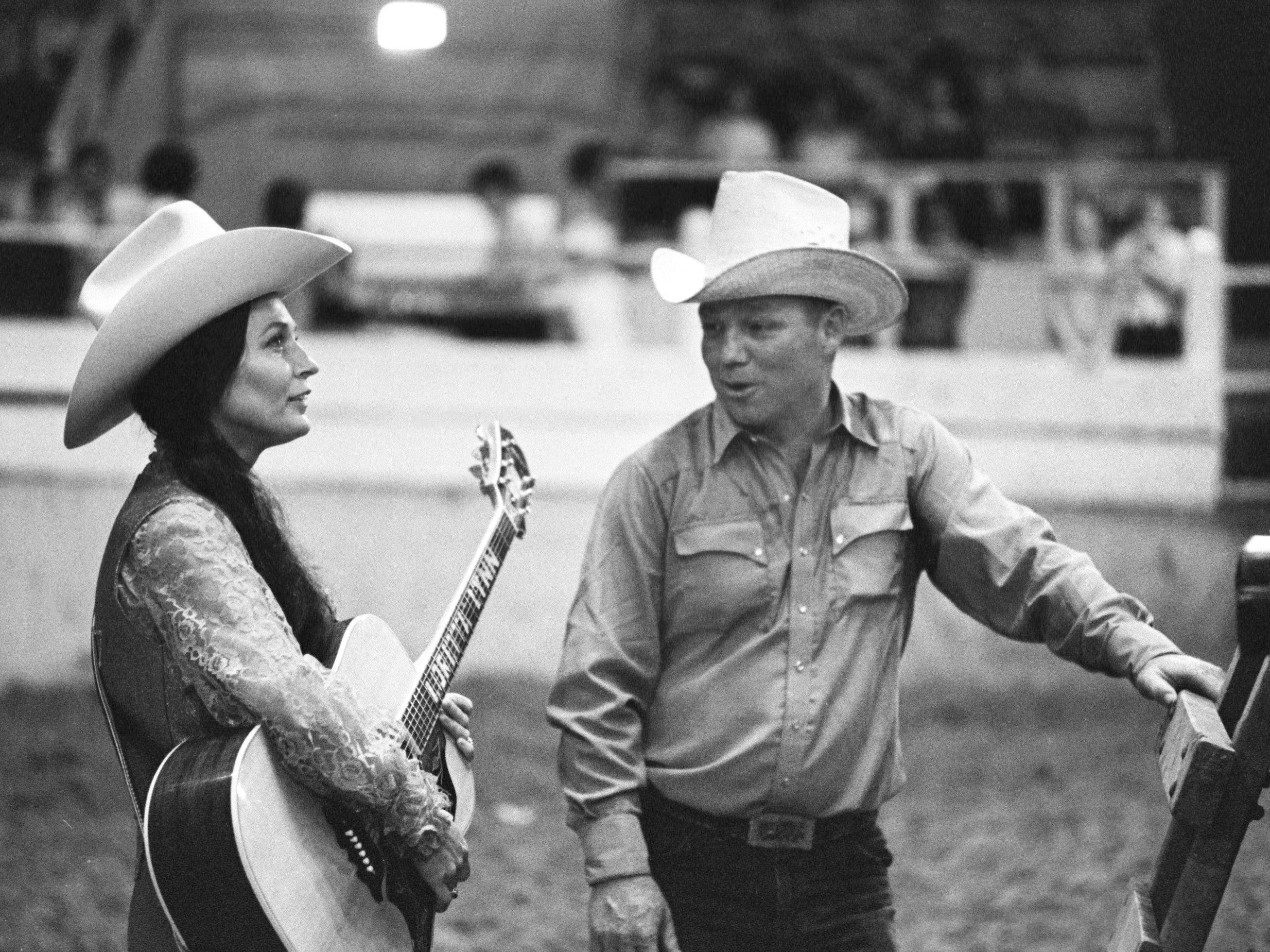 """Mountain cowgirl Loretta Lynn, left, is with her husband, Oliver """"Mooney"""" Lynn, before opening a summer-long stampede on May 13, 1969, at the Fairgrounds Coliseum with a performance during the Loretta Lynn Rodeo."""