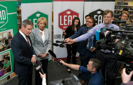 Gov. Bill Lee and  Education Secretary Betsy DeVos answer questions from the media after touring LEAD Cameron Middle School and a roundtable in Nashville on Monday, April 1, 2019.