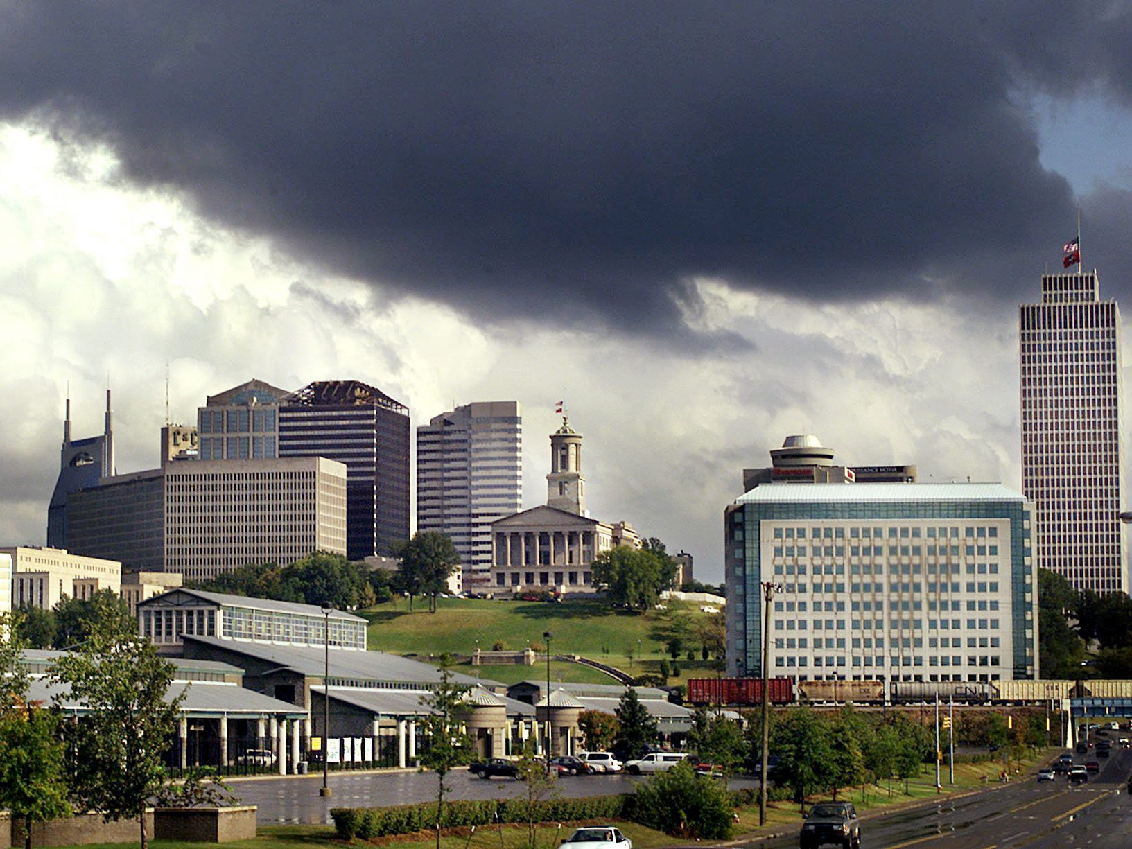 Dark clouds roll over the skyline of Nashville on Sept. 29, 2001.