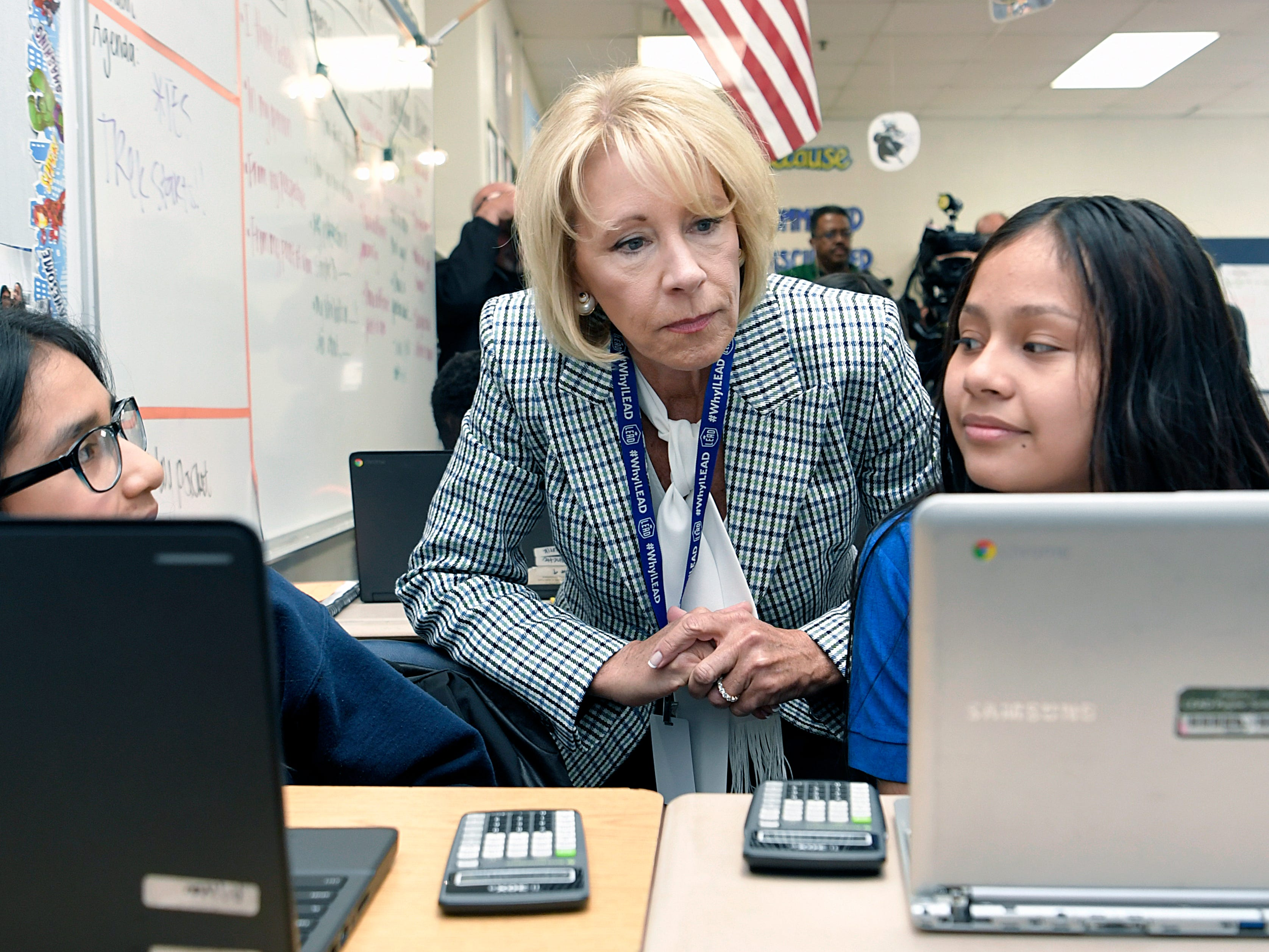 Education Secretary Betsy DeVos visits a sixth grade classroom at LEAD Cameron Middle School with Gov. Bill Lee in Nashville on Monday, April 1, 2019.
