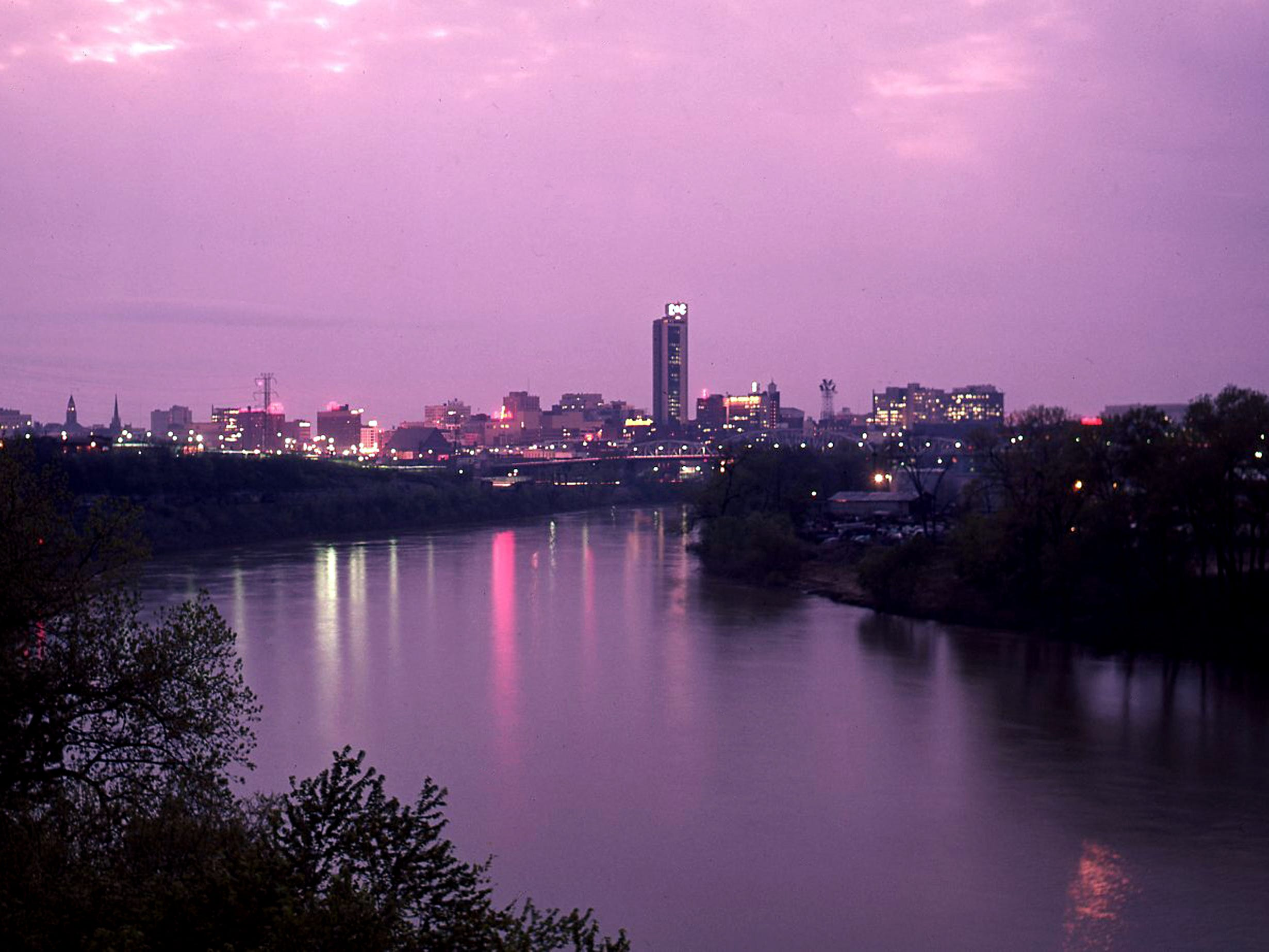 The view of the Metro Nashville skyline from the Silliman Evans Bridge as the sun sets April 9, 1963