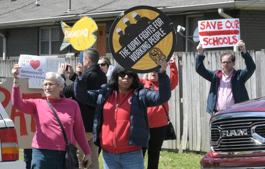 People protest outside LEAD Cameron Middle School where Gov. Bill Lee and Education Secretary Betsy DeVos toured the Nashville school on Monday, April 1, 2019.