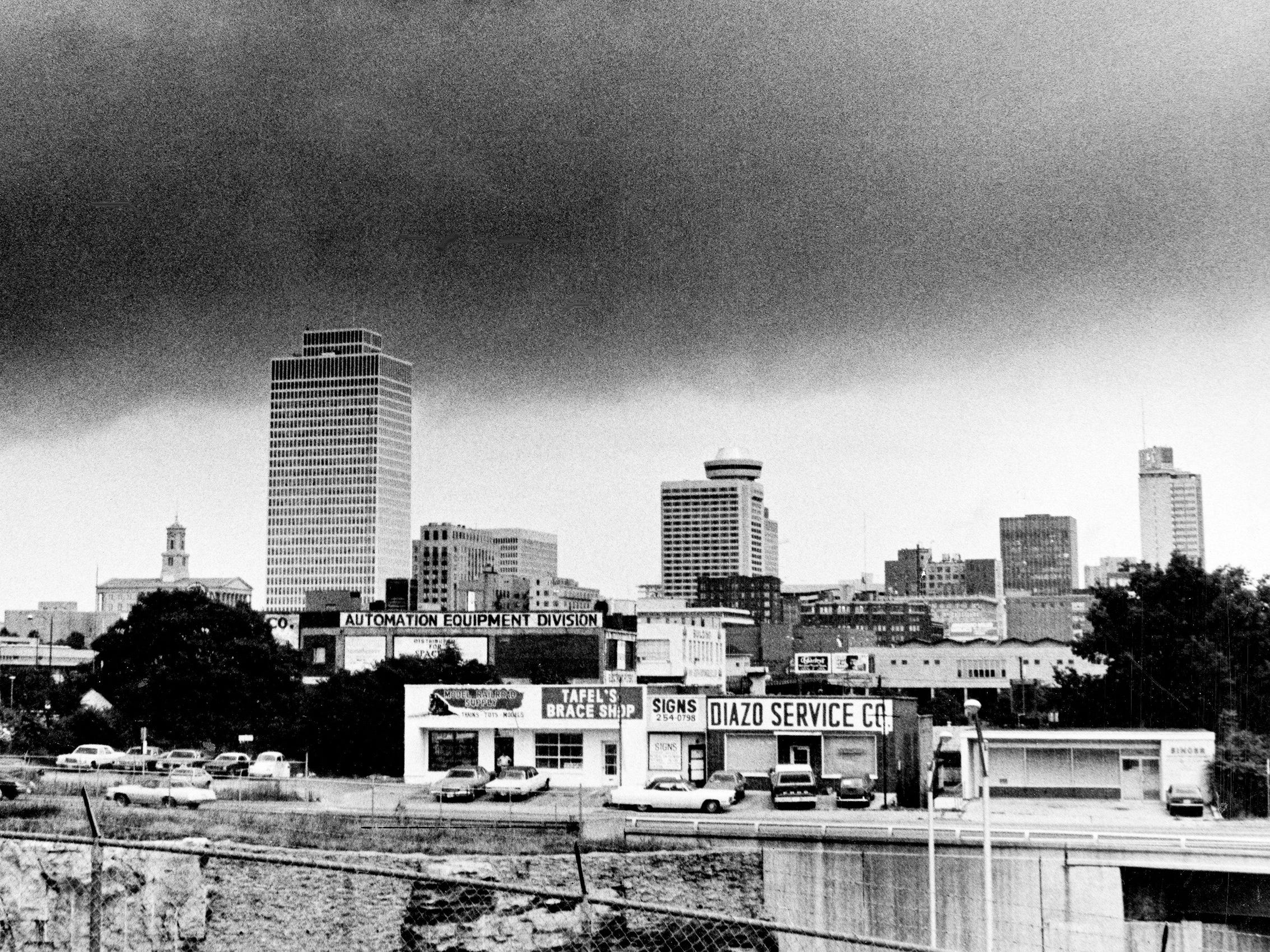 A summer afternoon rainstorm rolls in over the Nashville skyline July 27, 1976.