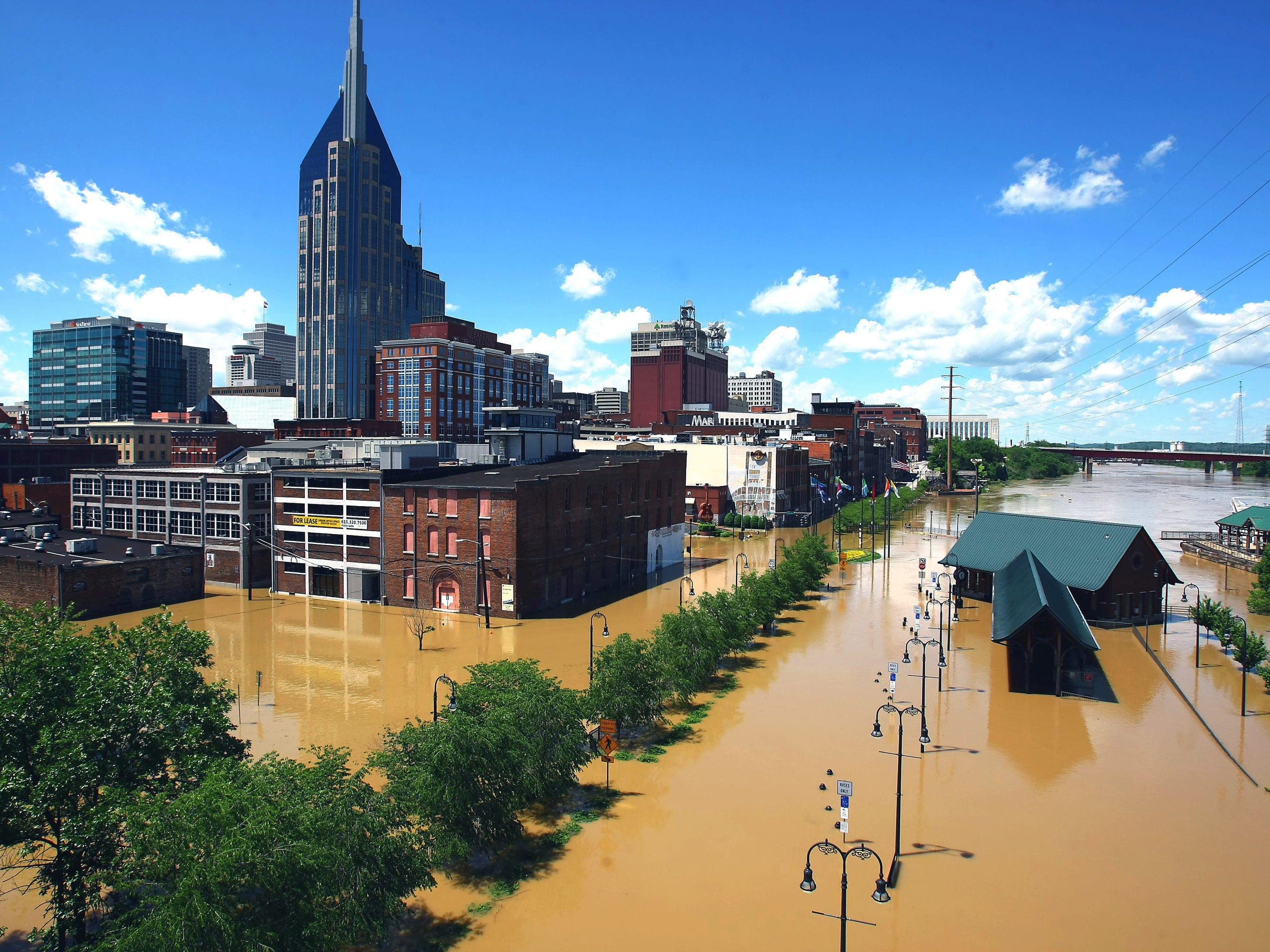 The downtown area of Nashville near the Cumberland River shows the flood water overwhelming it May 3, 2010.