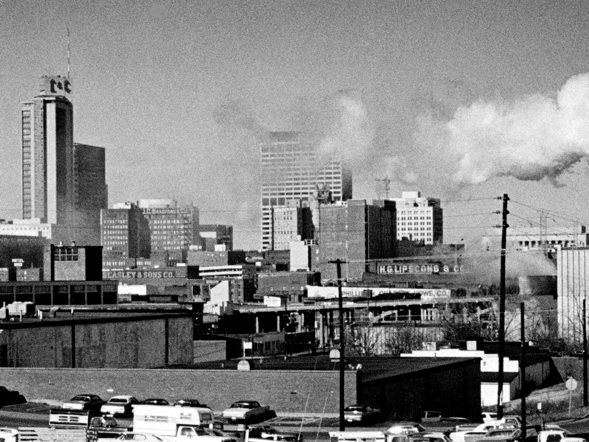 Smoke from the Thermal Transfer, right, blots the Nashville skyline Dec. 1, 1975, which has the L&C Tower and J.C. Bradford building in the center. The J.C. Bradford building was Nashville first skyscraper.
