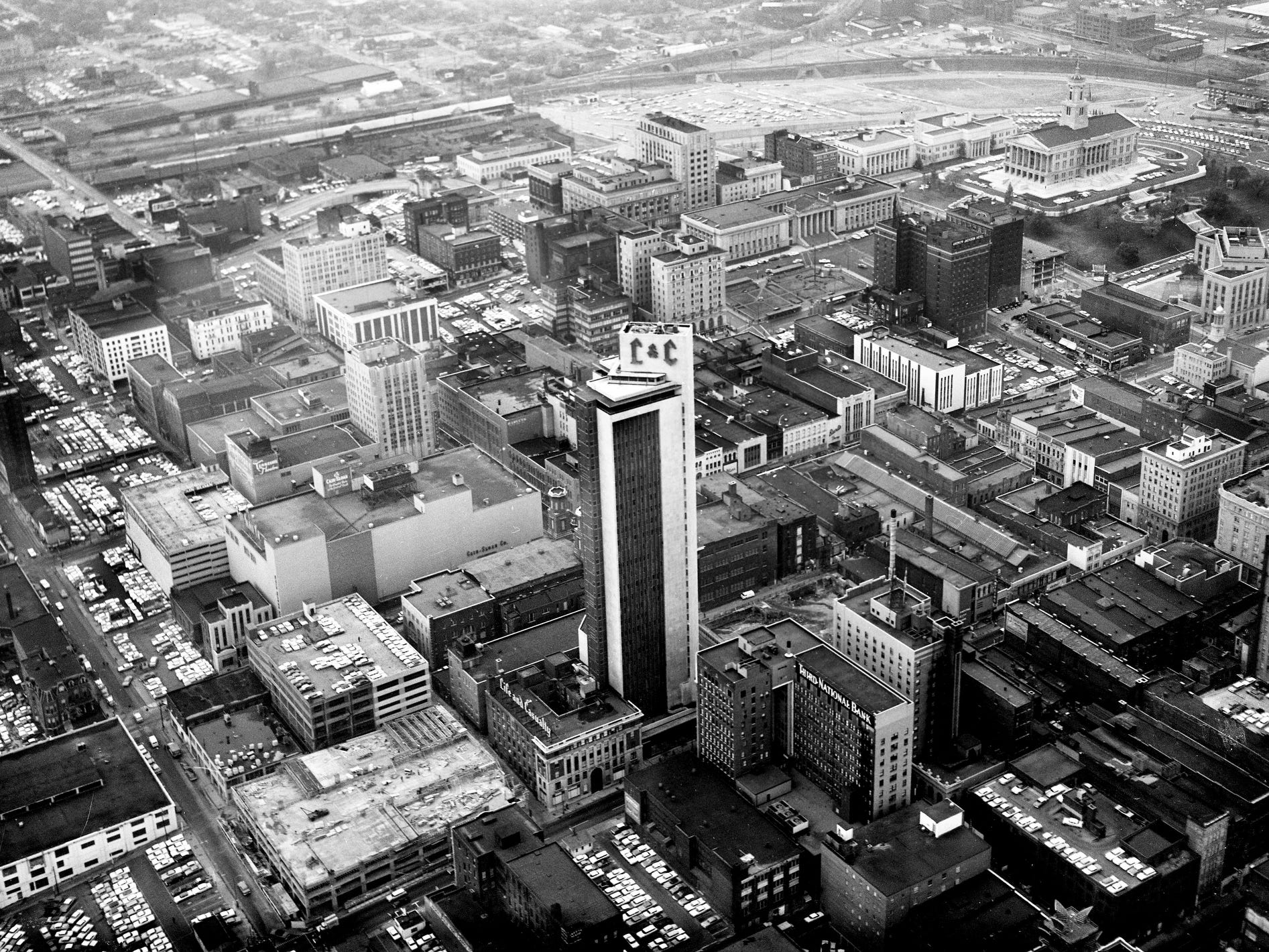 An aerial view of downtown Nashville on Nov. 2, 1962 shows the Life and Casualty Tower standing tall among all the other buildings.