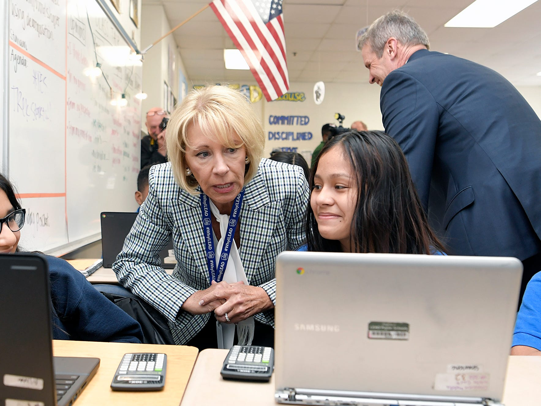 Education Secretary Betsy DeVos visits a classroom at LEAD Cameron Middle School with Gov. Bill Lee in Nashville on Monday, April 1, 2019.