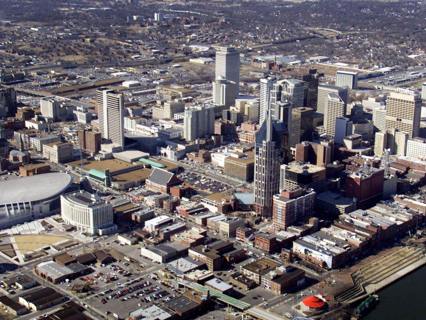 An aerial view of downtown Nashville on Feb. 6, 2001.