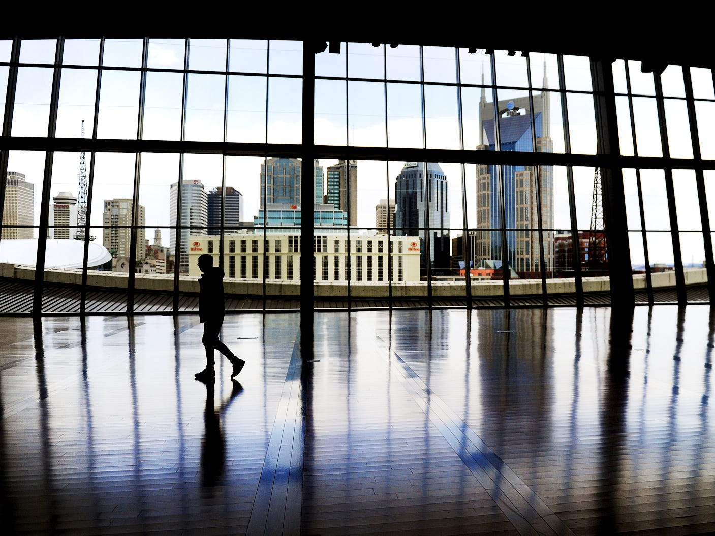 The 10,000-square-foot space of the Country Music Hall of Fame's Event Hall feature floor-to-ceiling windows with a massive view of the Nashville skyline as seen here March 25, 2014.